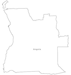 Black White Angola Outline Map vector image