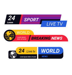 breaking world news bars and tv live report vector image