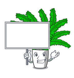 Bring board fern frond frame decoration on cartoon vector