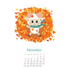 Calendar 2018 months november with sheep vector