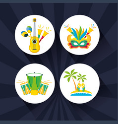 Canival rio brazilian celebration with set vector