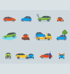 car crash collision traffic insurance safety vector image