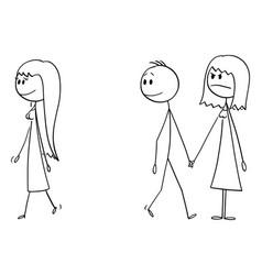 Cartoon couple man and woman or boy vector