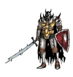 cartoon image of warrior with sword vector image
