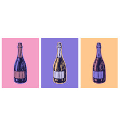 Champagne bottle hand drawing vector