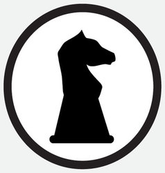 Chess horse icon monochrome black white vector
