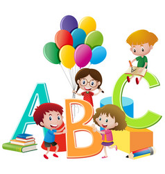 Children playing toys and english alphabets vector