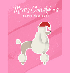 christmas and new year holiday poodle dog card vector image