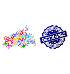 christmas sale composition of mosaic map of vector image
