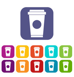 Coffee in take away cup icons set vector