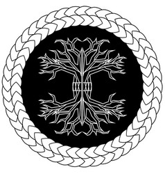 Contour yggdrasil on black background in knotted vector
