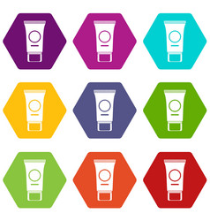 cosmetic cream tube icon set color hexahedron vector image