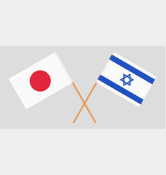 Crossed flags israel and japan vector