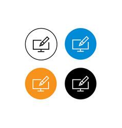 Design icon pen and computer vector