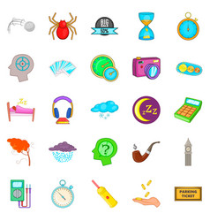 detect time icons set cartoon style vector image