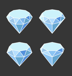 diamond crystal icons set on dark background vector image