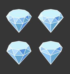 diamond crystal icons set on dark background vector image