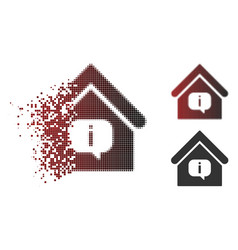 dispersed pixelated halftone hint building icon vector image