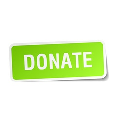 Donate green square sticker on white background vector