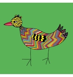 Doodle colorful bird on the green background vector