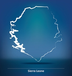 Doodle Map of Sierra Leone vector