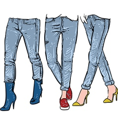 Drawing womens fashionable jeans sketch vector image