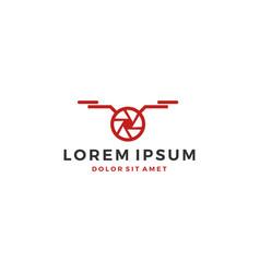 drone logo shutter lens photography video service vector image