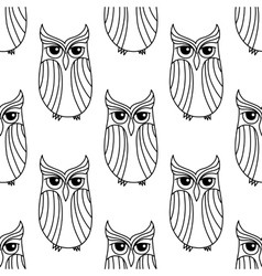Eagle owls seamless pattern background vector image