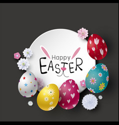 easter banner design eggs and flowers vector image