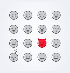 Emoticon icon set with different moods vector