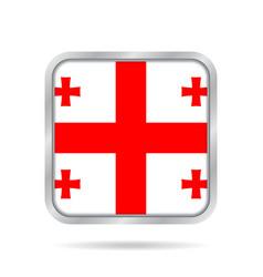Flag of georgia shiny metallic gray square button vector
