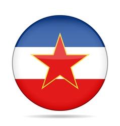 Flag of Yugoslavia Shiny round button vector image