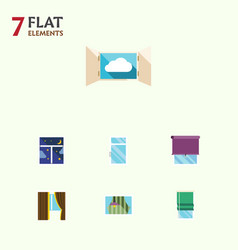 Flat icon window set of cloud clean glass and vector