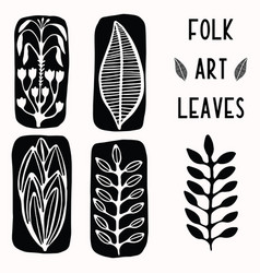 Folk art leaf graphic elements for design set vector
