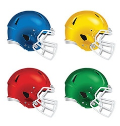 Football helmets with white facemasks vector