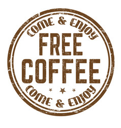 free coffee sign or stamp vector image