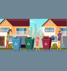 garbage recycling waste separation people protect vector image