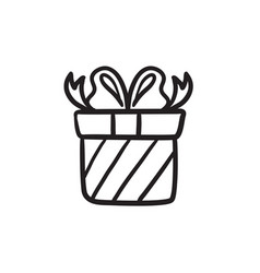 Gift box sketch icon vector
