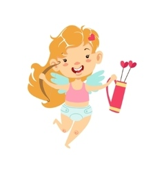 Girl Baby Cupid With Bow And Quiver Winged vector