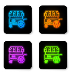 glowing neon fast street food cart with awning vector image