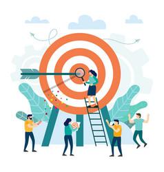 Goal achievement target with an arrow hit vector