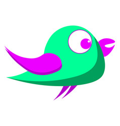 green bird with purple eyes on white background vector image