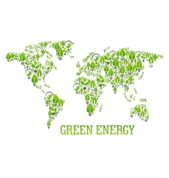 Green world map symbol with light bulbs vector