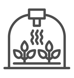 Greenhouse with leaf line icon sprout growth vector