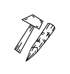 hammer icon doodle hand drawn or black outline vector image