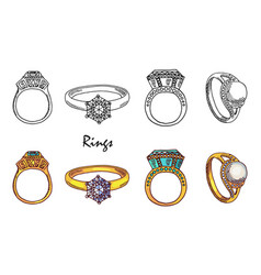 Hand drawn jewelry rings with crystalls vector