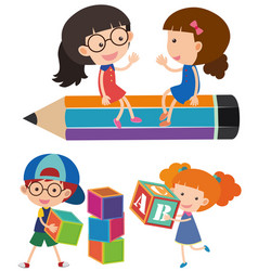 happy children with blocks and pencil vector image