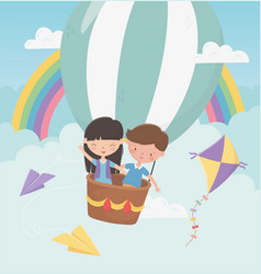 happy childrens day boy and girl flying with hot vector image