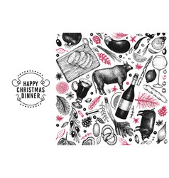 Happy christmas dinner design template vector