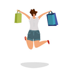 Happy shopper young woman jumping with gift vector